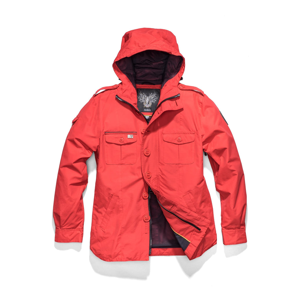 Men's hooded shirt jacket with patch chest pockets in Red| color
