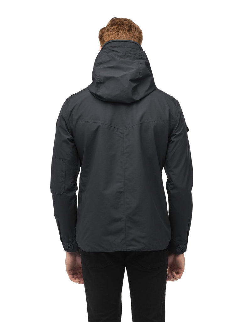 Men's hooded shirt jacket with patch chest pockets in Black| color
