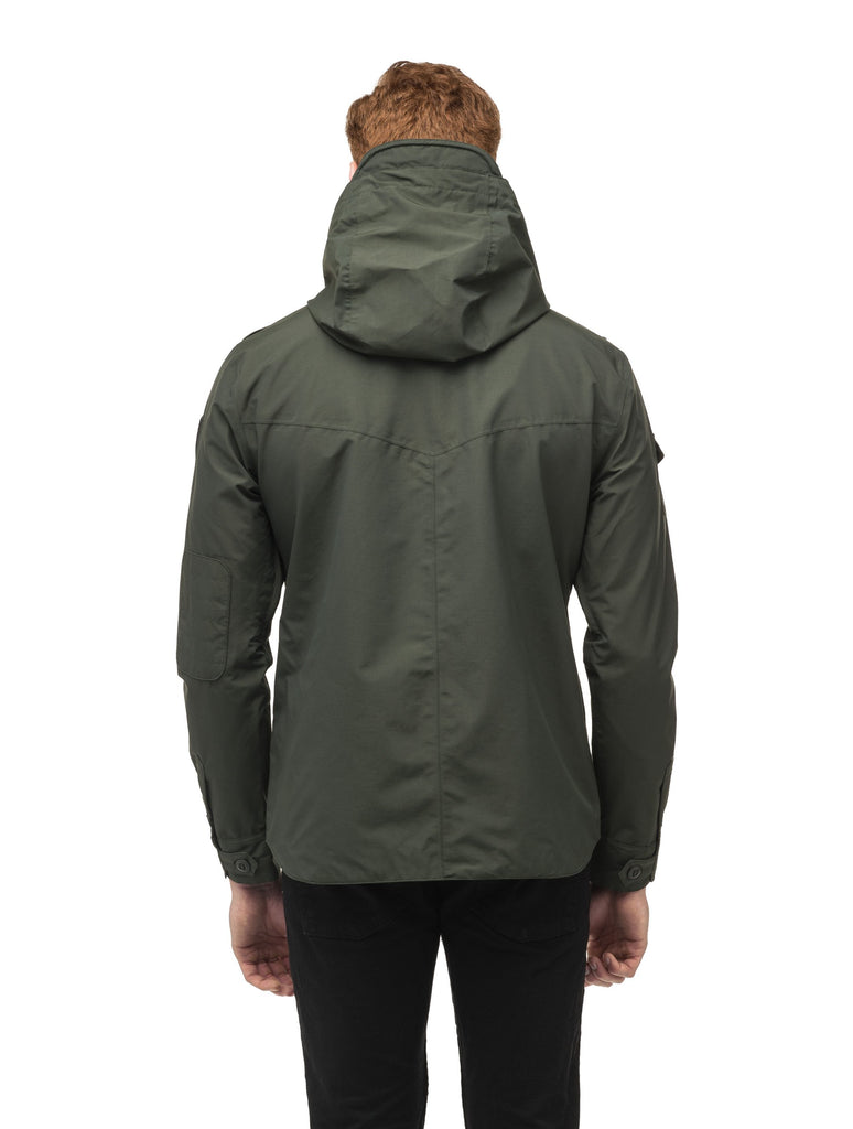 Men's hooded shirt jacket with patch chest pockets in Dark Forest| color