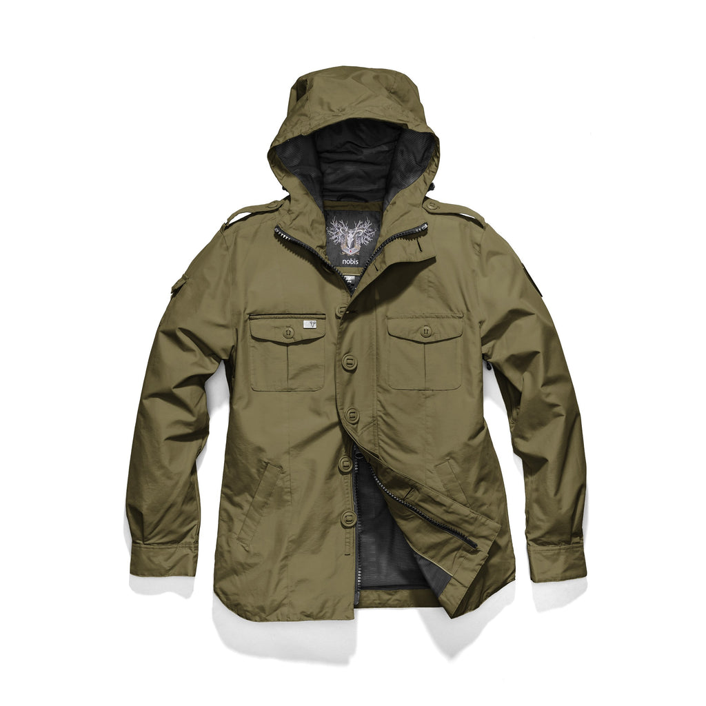 Men's hooded shirt jacket with patch chest pockets in Fatigue| color