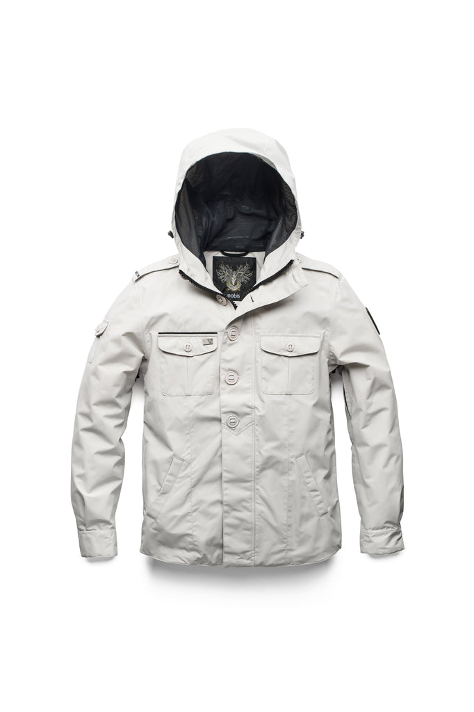 Men's hooded shirt jacket with patch chest pockets in Light Grey| color