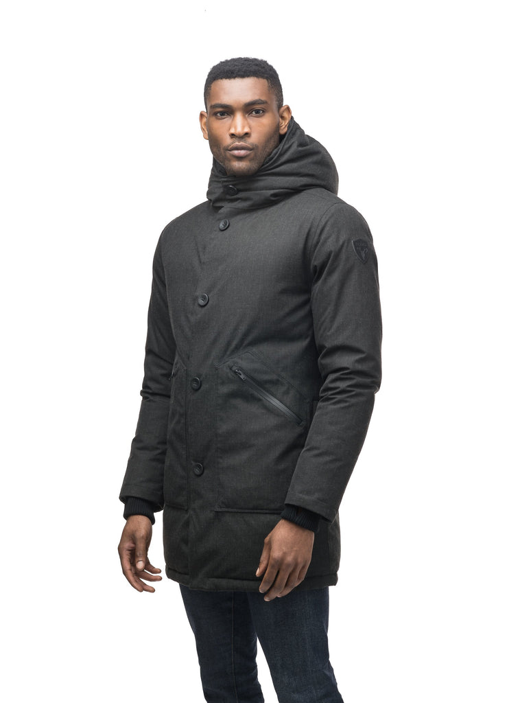 Men's fur free hooded parka with zipper and button closure placket featuring two oversized front pockets in H. Black| color