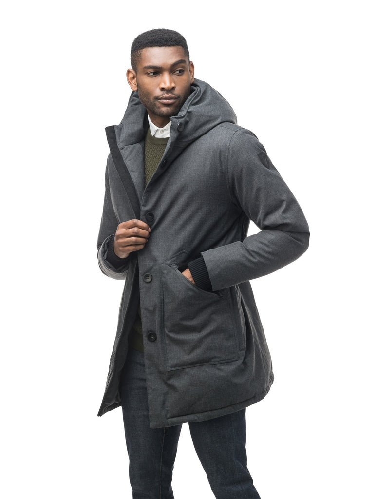 Men's fur free hooded parka with zipper and button closure placket featuring two oversized front pockets in H. Charcoal| color