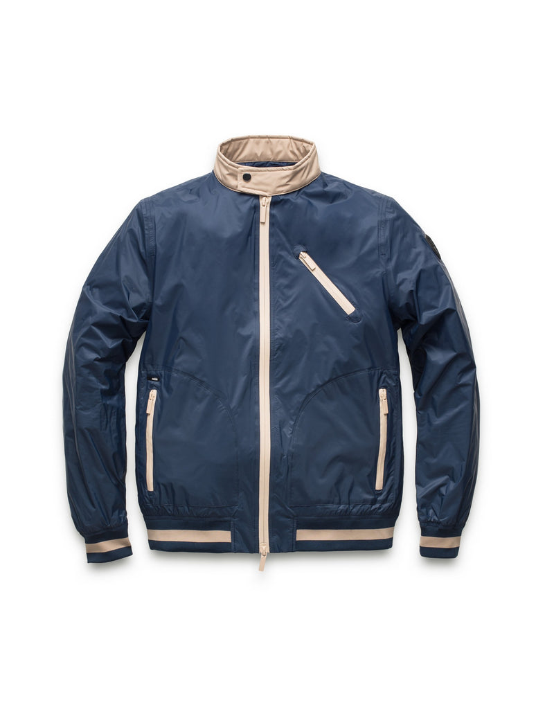 Men's lightweight taffeta bomber jacket with light contrast trim in Marine| color