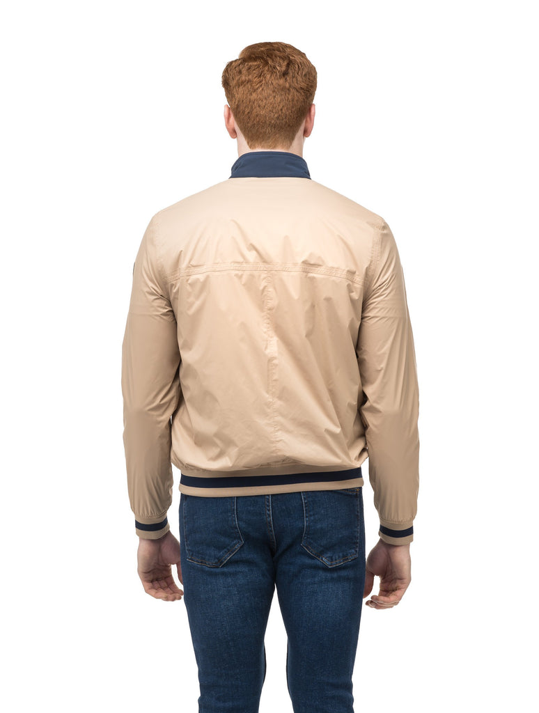Men's lightweight taffeta bomber jacket with dark contrast trim in Fawn| color