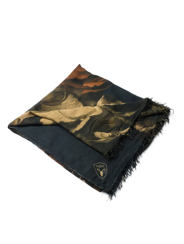 Square modal cashmere blend scarf with fringe edges in a Floral Print| color