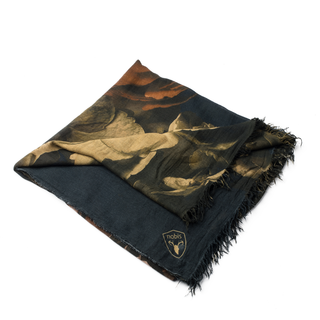 Square modal cashmere blend scarf with fringe edges in a Floral Print | color