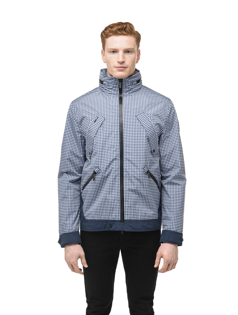 Men's waist length waterproof jacket with exposed zipper in Gingham| color