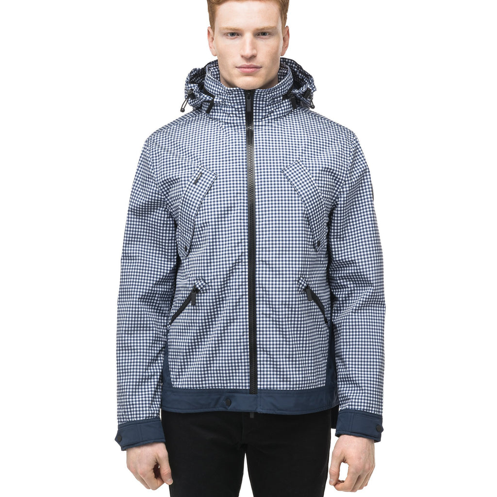 Men's waist length waterproof jacket with exposed zipper in Gingham | color