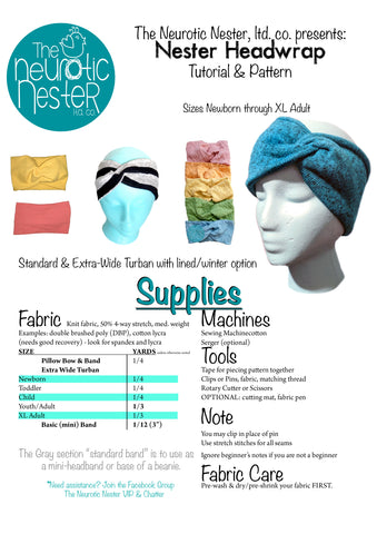 Nester Headwrap Headband Pattern and Tutorial - US LETTER
