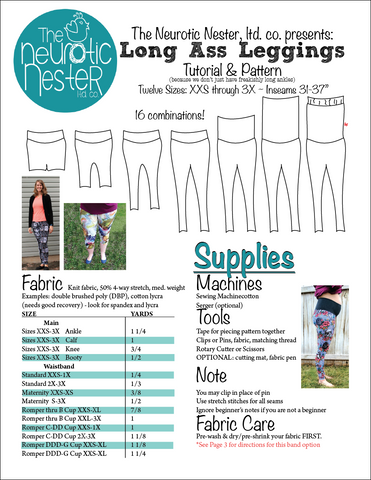 Long Ass Leggings Digital Sewing Pattern & Tutorial US LETTER
