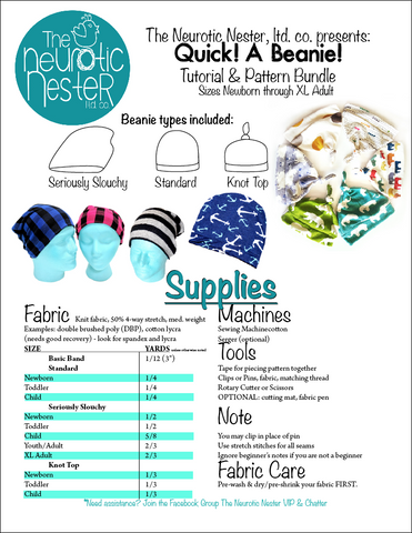 Quick A Beanie Sewing Pattern Tutorial Us Letter The