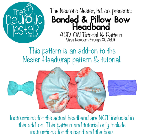 Add-On: Banded & Pillow Bow Sewing Pattern & Tutorial - US Letter