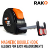 RAK Tape Measure (25 Feet) with Magnetic Rubber Hook and Auto Lock - RAK Pro Tools