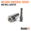 RAK Universal Socket Grip (7-19mm) Multi-Function Ratchet Wrench Power Drill Adapter Set (Silver) - RAK Pro Tools