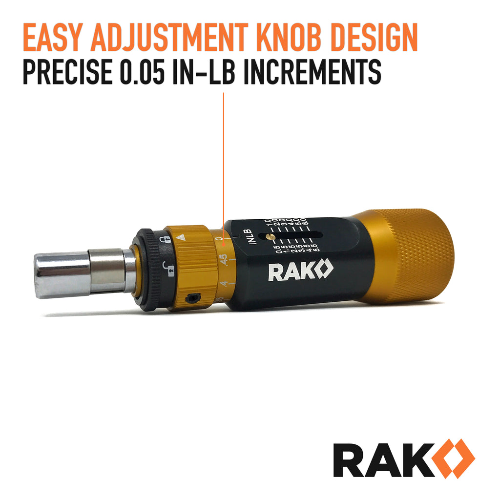 RAK Precision Torque Screwdriver Set with 1/4-Inch Hex Drive - Extremely  Accurate 0 05 Inch-Lb (0 011 Nm) Increment Torque Screw Driver with 0 5 to  6