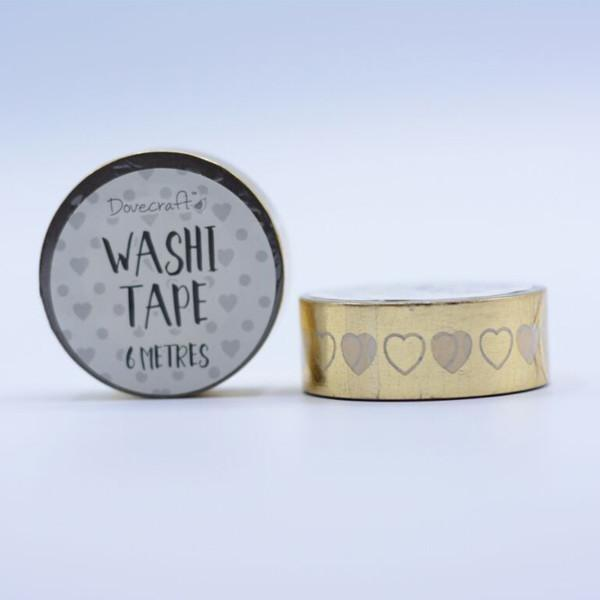 Dovecraft Washi Tape - Foil, Gold Hearts