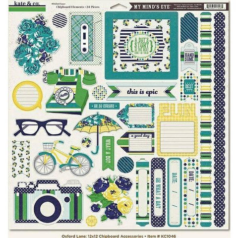 My Minds Eye - Kate and Co, Oxford Lane 12x12 Chipboard Accessories