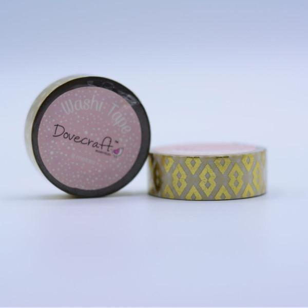 Dovecraft Washi Tape, Foil, Gold Tribal Diamonds