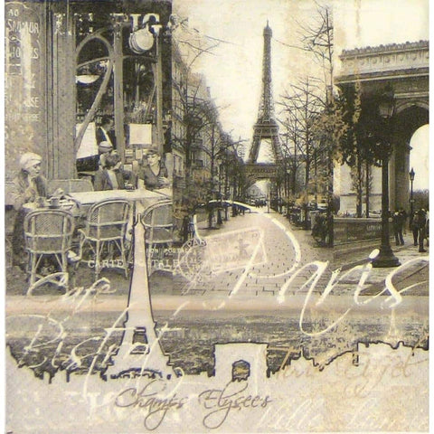 Decoupage Napkin - Paris Monochrome