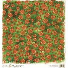 Magnolia 12x12 sheet- Sweet Christmas Dreams collection, Sweet Green Poinsettia