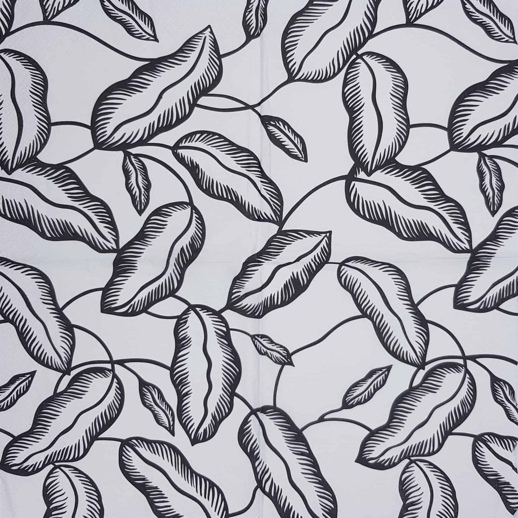 Decoupage Napkin - Black Leaves