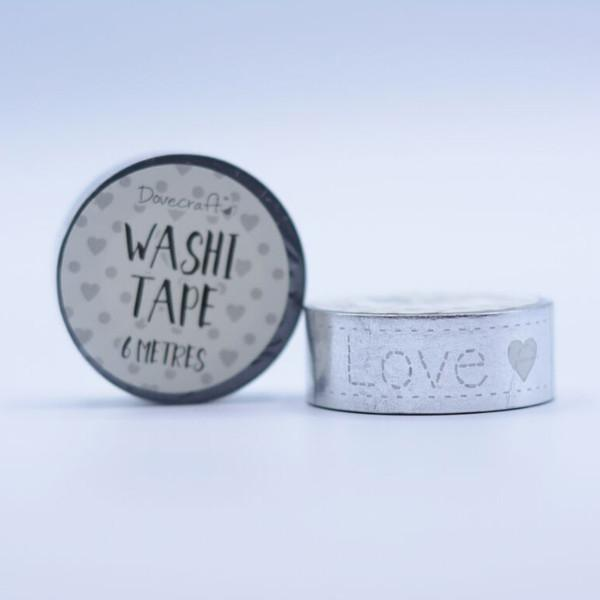 Dovecraft Washi Tape - Foil, Silver stitched love