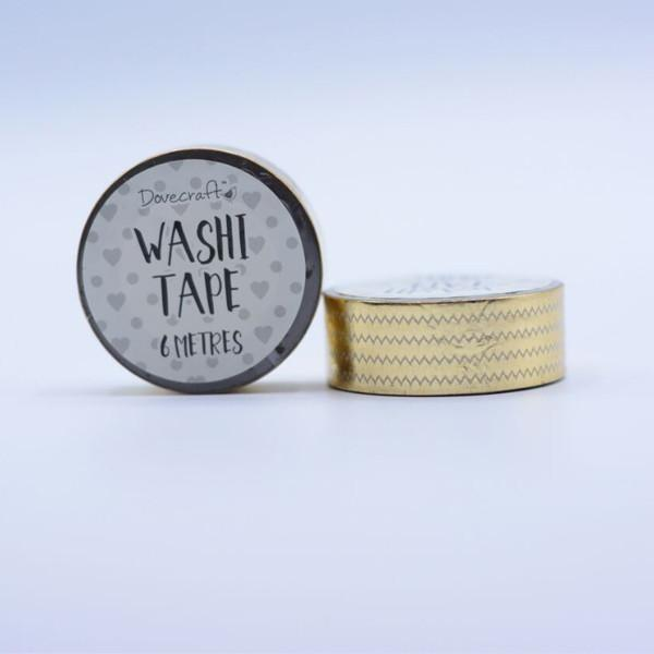 Dovecraft Washi Tape - Foil, Gold Zigzag
