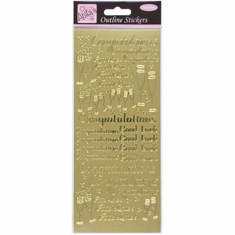 Anita's Outline Stickers - Congratulations - Gold