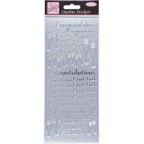 Anita's Outline Stickers - Congratulations - Silver