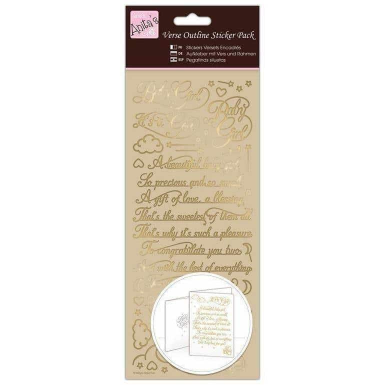 Anita's Outline Stickers - Verses - Baby Girl - Gold