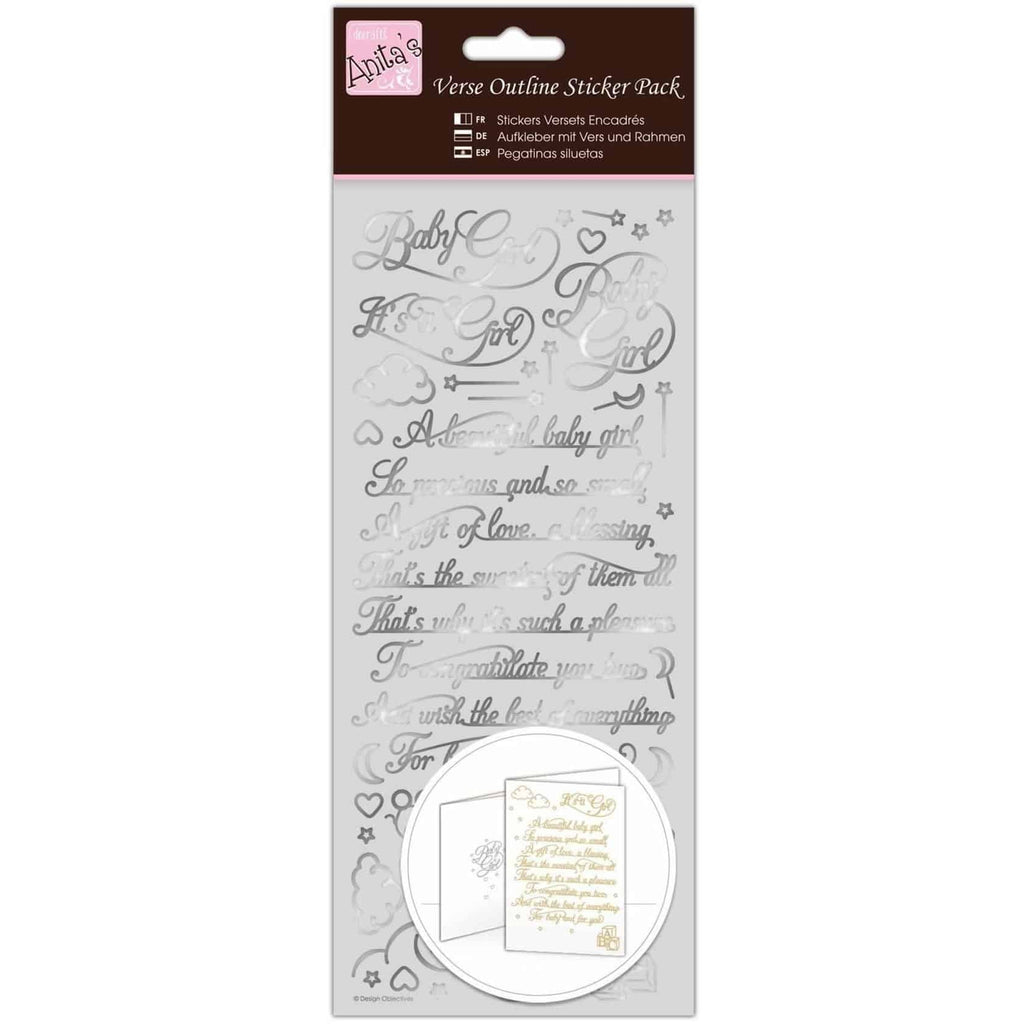 Anita's Outline Stickers - Verses - Baby Girl - Silver
