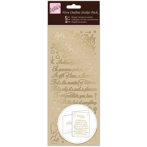 Anita's Outline Stickers - Verses - Baby Boy - Gold