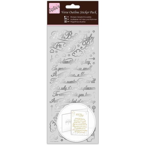 Anita's Outline Stickers - Verses - Baby Boy - Silver