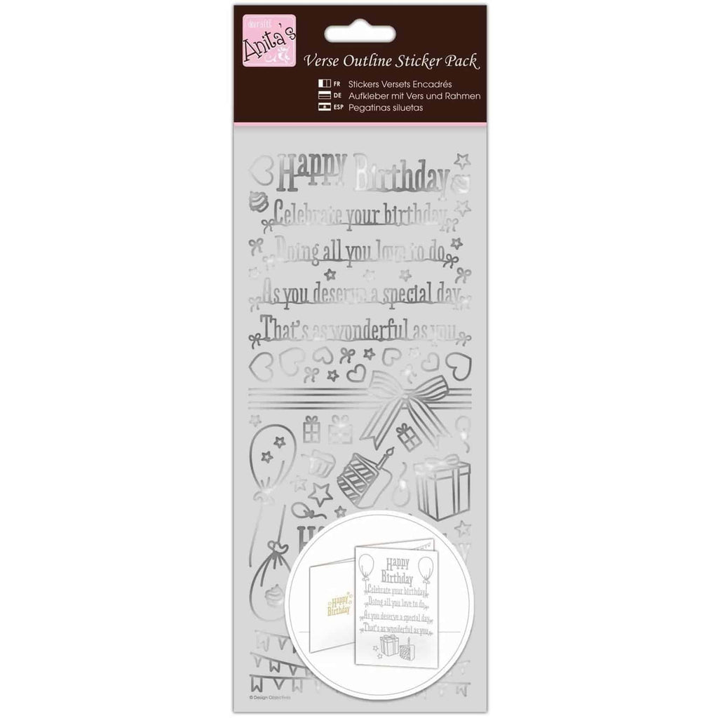Anita's Outline Stickers - Verses - Happy Birthday - Silver