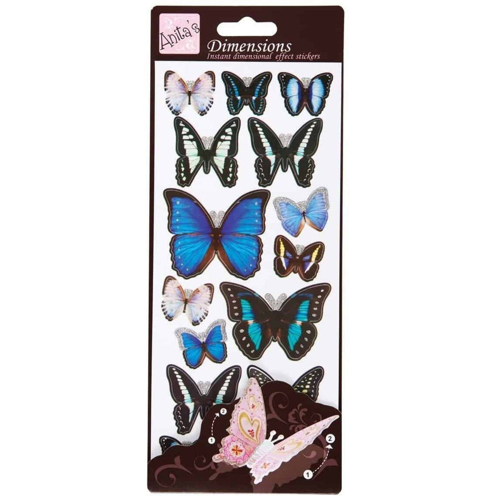 Anita's Dimensions 3D Sticker Sheet -Butterfly Wings Blue