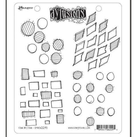 Dylusions Cling Rubber Stamp - Four By Four