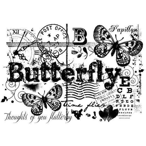 Woodware Clear Singles Stamp- Butterfly Collage