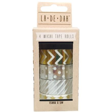 La De Dah Washi Tape 4 Pack - Metallics