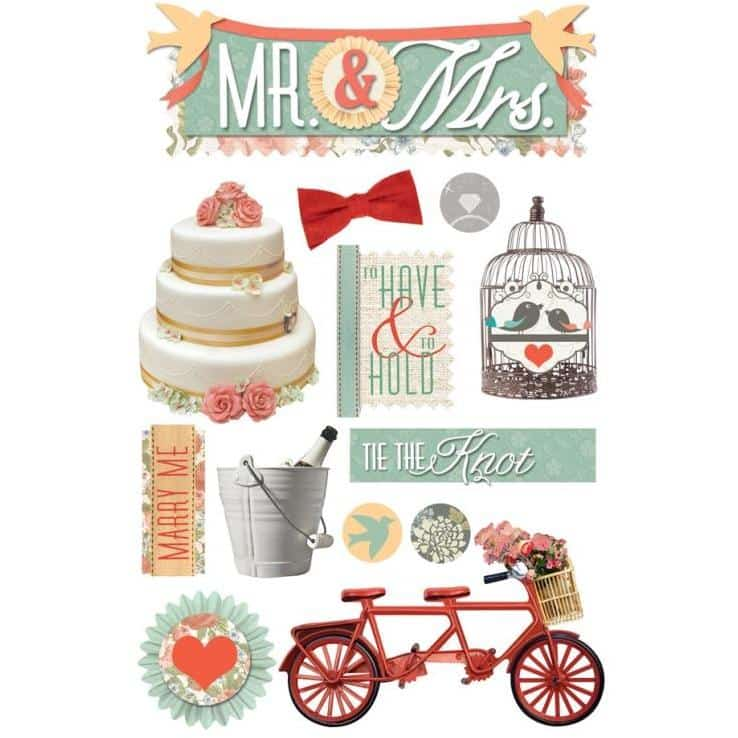 Paper House Productions 3D Sticker - Mr. & Mrs.