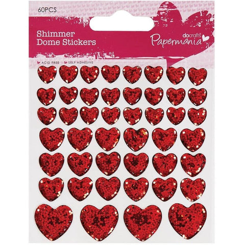 Papermania Shimmer Heart Stickers (46pcs)