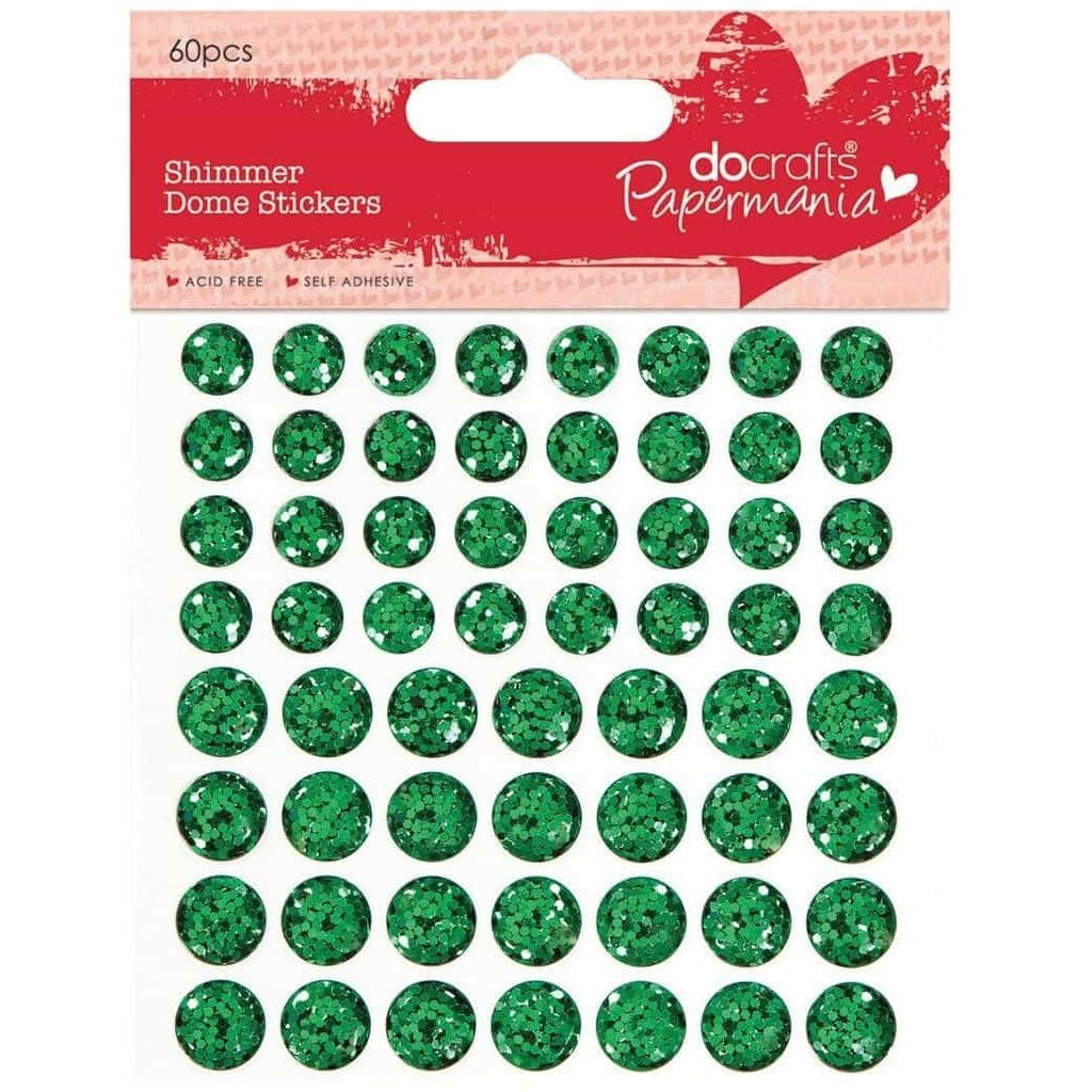 Papermania Shimmer Dome Stickers (60pcs) - Green