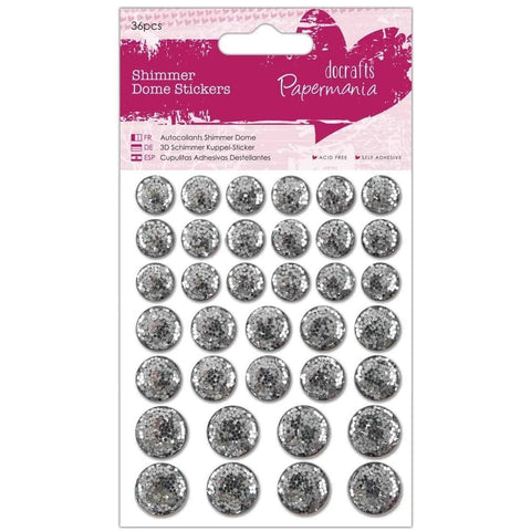 Papermania Shimmer Dome Stickers (36pcs) - Silver