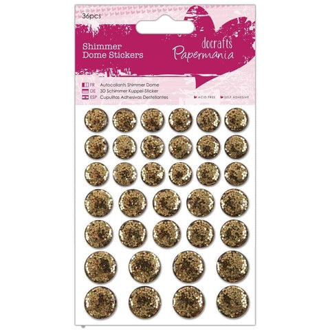 Papermania Shimmer Dome Stickers (36pcs) - Gold