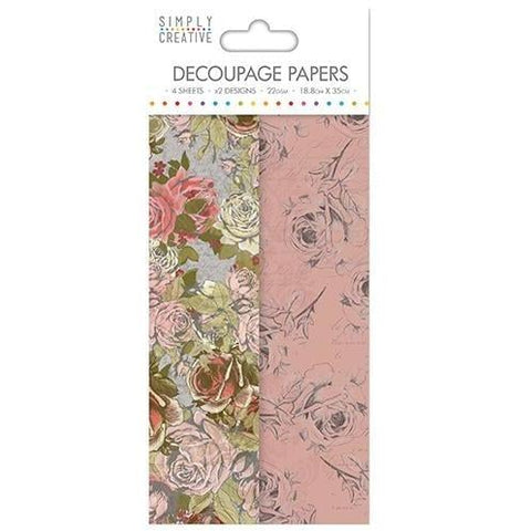Simply Creative Decoupage Paper - Rose Bloom