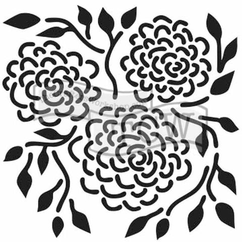 The Crafters Workshop 6x6 Stencil - Round Flowers
