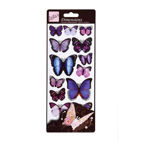 Anita's Dimensions 3D Sticker Sheet -Butterfly Wings Purple
