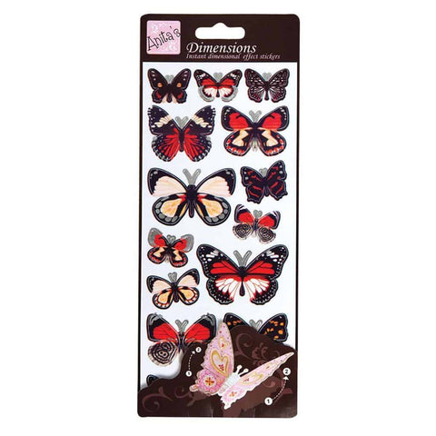 Anita's Dimensions 3D Sticker Sheet -Butterfly Wings Red
