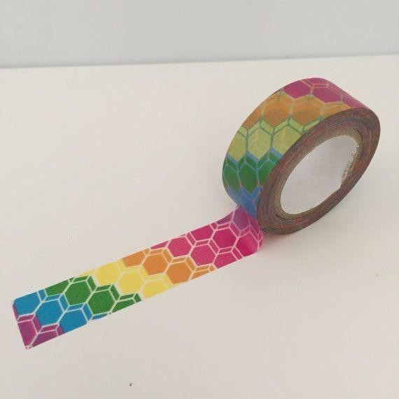 Dovecraft Washi Tape - Rainbow hexagons