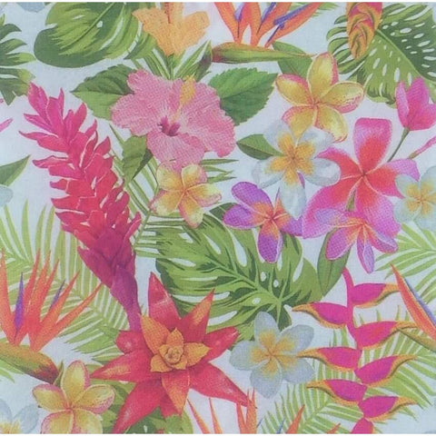 Decoupage Napkin - Tropical Flowers pink